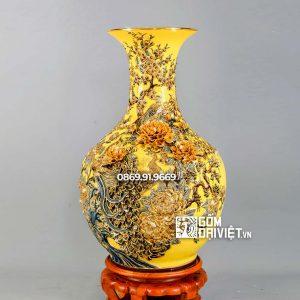 Bình tỏi chim công đắp nổi men vàng vẽ vàng H80cm