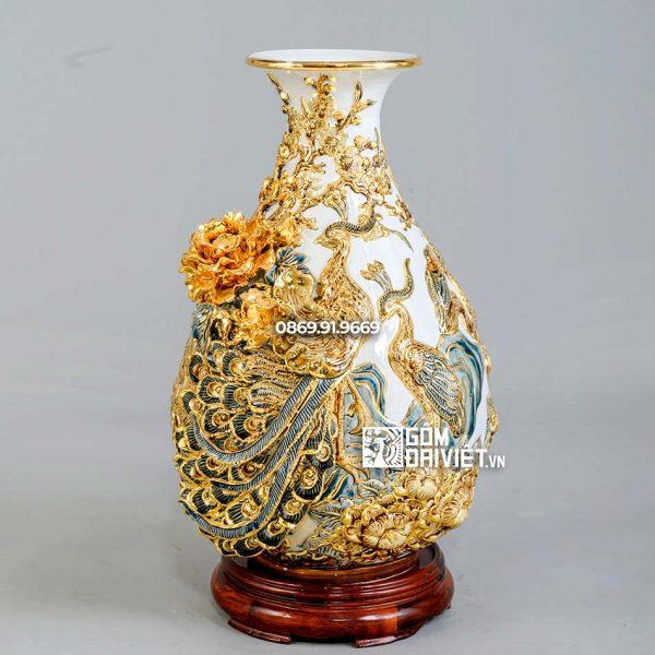 Bình tỳ bà chim công hoa đào men trắng đồ màu vẽ vàng H45cm