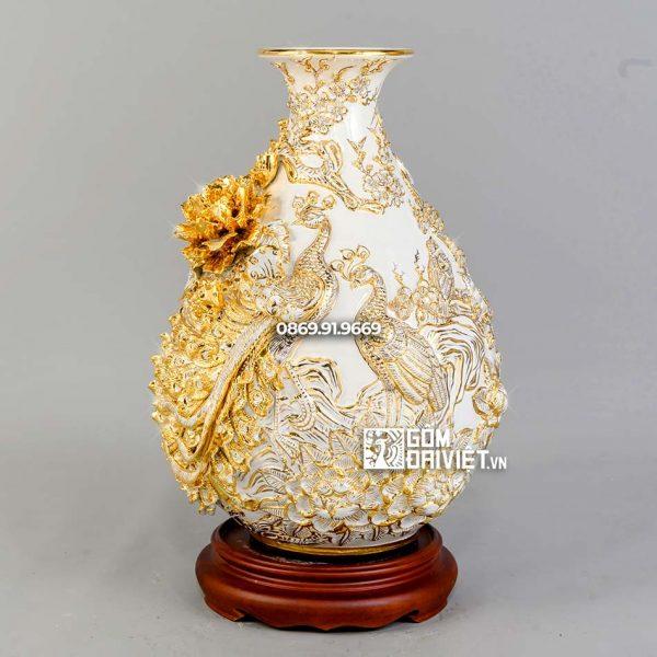 Bình tỳ bà chim công hoa đào men trắng vẽ vàng H40cm