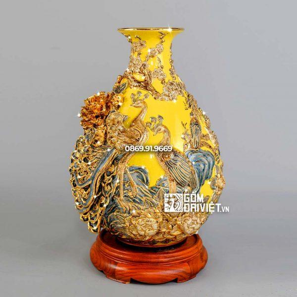 Bình tỳ bà công đào men vàng vẽ vàng H40cm