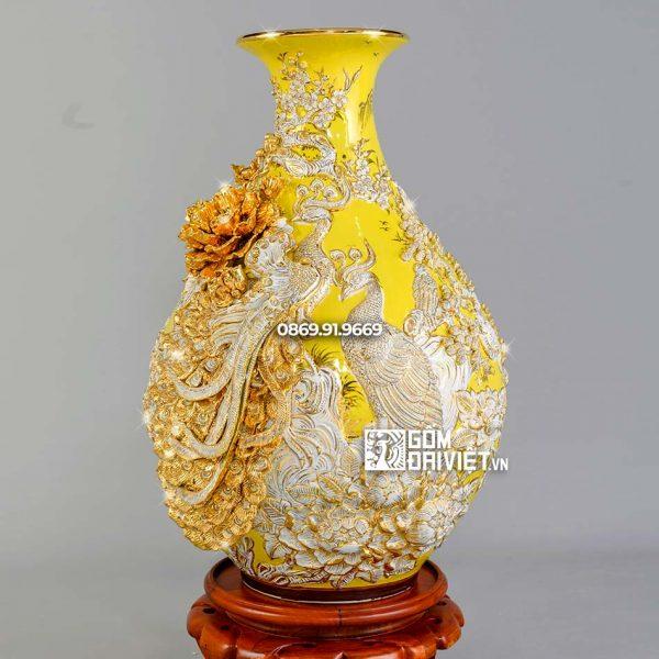 Bình tỳ bà công đào men vàng họa tiết trắng vẽ vàng H60cm