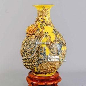 Bình tỳ bà công đào men vàng vẽ vàng H60cm