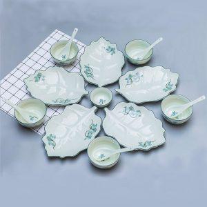 Bộ bát đĩa Bát Tràng men kem sen xanh lơ 5 người ăn