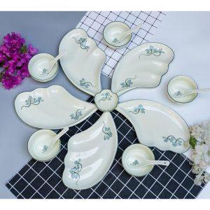 Bộ bát đĩa Bát Tràng men kem sen xanh lơ 6 cánh hoa cúc