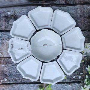 Bộ đĩa cánh hoa mặt trời men trắng trơn 10 người ăn
