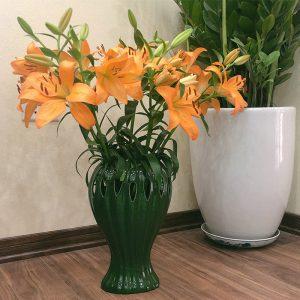 Lọ cắm hoa bàn tay phật men bộ đội 35cm