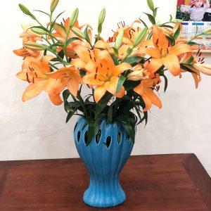 Lọ cắm hoa bàn tay phật men xanh 35cm