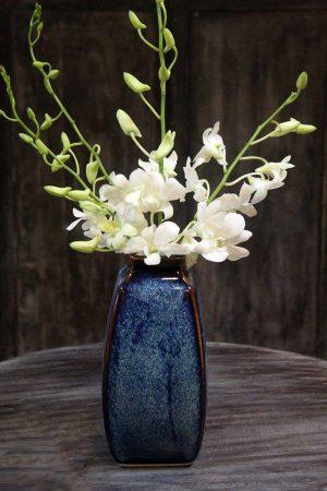 Lọ hoa Bát Tràng men hỏa biến xanh đại dương dáng đứng 4 cạnh