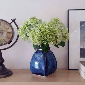 Lọ hoa Bát Tràng men hỏa biến xanh đại dương dáng giỏ cua 4 cạnh