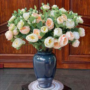 Lọ hoa Bát Tràng men hỏa biến xanh đen kính dáng vò cao s1