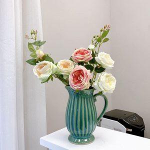 Lọ hoa Bát Tràng men hỏa biến xanh lơ dáng bình phễu