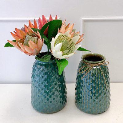 Lọ hoa Bát Tràng men hỏa biến xanh lơ dáng hạt