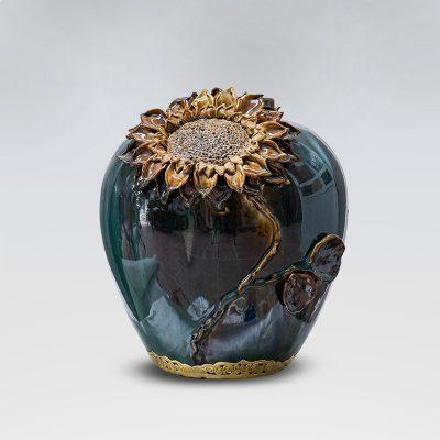 Lọ hoa tròn đắp nổi men hỏa biến 30cm