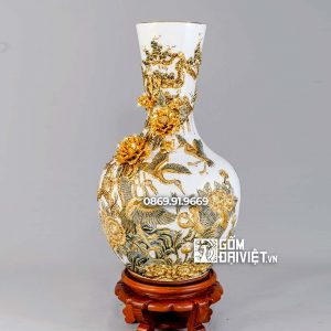 Bình tỏi công đào men vàng vẽ vàng H40cm