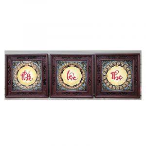 Tranh chữ sứ Phúc Lộc Thọ khung gỗ gụ 50×50 cm