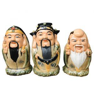 Tượng sứ Phúc Lộc Thọ men rạn dáng trứng cao 32cm