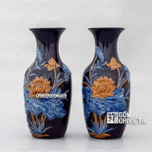 Lọ hoa ban thờ men thúy lam xanh đắp hoa sen 28cm