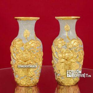 Lộc Bình Cắm Hoa Men Rạn Dát Vàng Đắp Nổi Hoa Sen 27cm