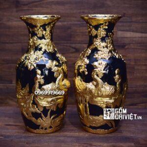 Lộc Bình Cắm Hoa Men Thúy Lam Dát Vàng Chim Công 36cm