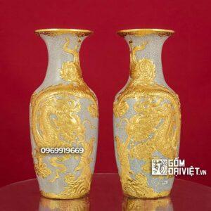 Lộc Bình Thờ Men Rạn Đắp Rồng Dát Vàng 24K 32cm